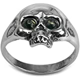 Green Amber Sterling Silver Jolly Roger Ring