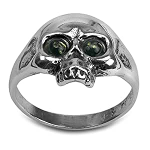 Noda Green Amber Sterling Silver Jolly Roger Ring Size L 1/2