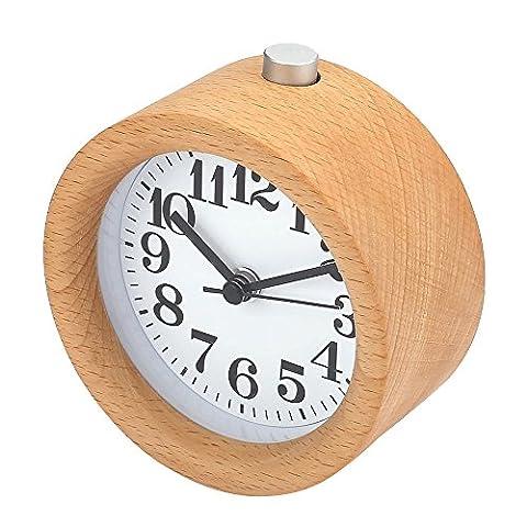 Japace® Silent Handmake Wooden Snooze Alarm Clock with Night Light