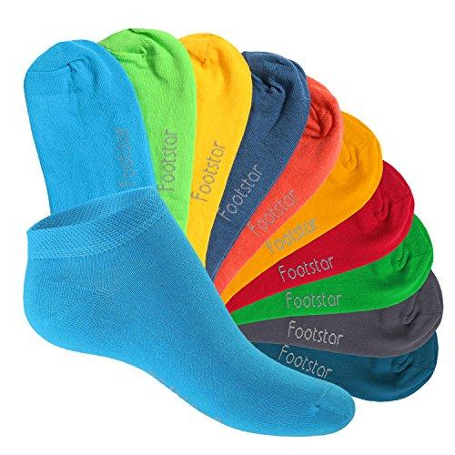 10 Paar SNEAK IT! KIDS Kinder Sneaker Socken für Mädchen & Jungen Trendfarben-27-30 (Mädchen Socken-füßlinge)