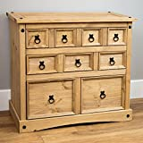 Corona Double Storage Chest Trunk Waxed Mexican Pine Ottoman Wooden Blanket Box