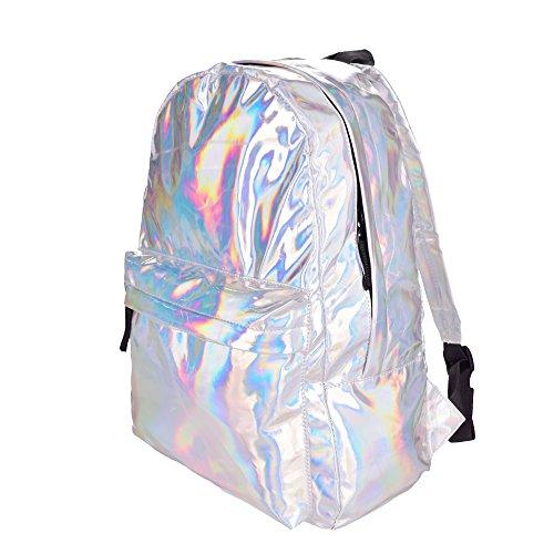 Damen Mädchen Hologramm Rucksack Gym Reisen Schule Rucksack Holografische Gepäck Fashion Bag College Holographic
