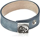 DIESEL Herren Armband, Echt Leder, Knopfverschluss, A-MYDENIM BRACELET, Mohawk: Farbe: Blau