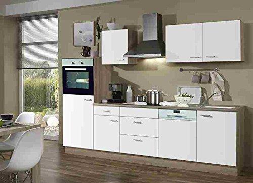 Menke Einbau Küchenzeile Küche Küchenblock 280 cm Eiche Sonoma weiss Ceran