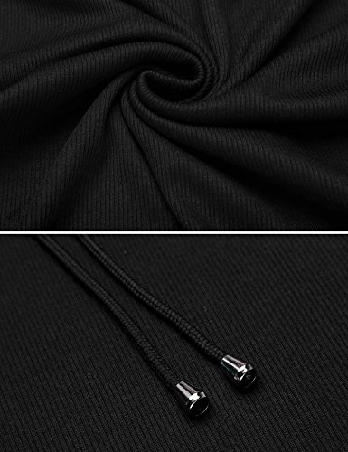 ADOME Damen Nachthemd Kapuzenshirt Kleid Baumwolle Pullover Sweatshirt Sport V Ausschnitt langarm Blusekleid lang Herbst Schwarz/Blau/Grau S-XXL 7795_Schwarz