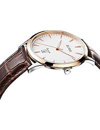 BUREI Hombre Fecha Pantalla Cristal de zafiro reloj de cuarzo con correa de piel, color marrón