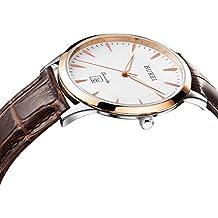 BUREI Dünne Herren Quartz Armbanduhr mit Rosegoldenem Uhrengehäuse Weißem Ziffernblatt Datumsanzeige Saphirglas und Braun Echtes Lederband
