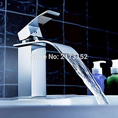 CZOOR Chrom Bad Wasserfall Wasserhahn einzigen Griff einzelne Bohrung Square Messing Waschbecken Mixer C-004 Tippen