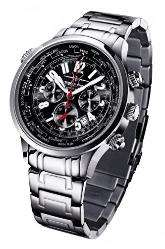 FIREFOX WORLDTIMER FFS40-102 sunray schwarz Weltzeitanzeige Chronograph Herrenuhr Armbanduhr Sicherheitsfaltschließe massiv Edelstahl wasserdicht Miyota OS20 Kaliber