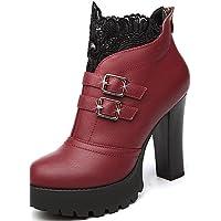 xzz/de zapatos de mujer stiletto talón botas de moda botas fiesta y tarde/vestido negro, black-us6.5-7 / eu37 / uk4.5-5 / cn37