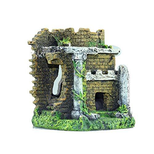 Decorazioni per acquari, acquario per pesci da acquario per abbellimento di pesci e gamberi che camminano attraverso il castello paesaggistico in resina della casa di rifugio