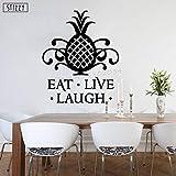 yaoxingfu Sticker Mural Citations d'ananas Modernes Manger Vivre Laugh Vinyle Stickers Muraux Cuisine Décoration Fenêtre Affiche Creative Decor Jaune 57x68 cm