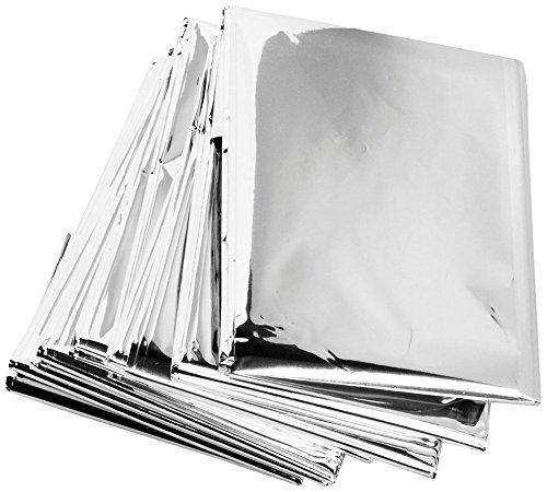 Butterme 10er-Pack Notdecken Stellen Foil Rettungsdecke Reflective Thermal Erste Hilfe für Wanderer, Kletterer, Läufer, Skifahrer (Silber) (Decke Kletterer)