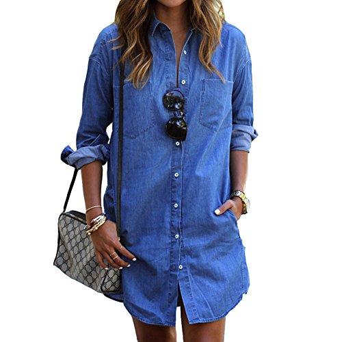 Biubiong camicia da donna manica lunga moda bluse jeans lungo abito classico