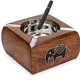 Cenicero de madera Vintage WhopperIndia - Cenicero de mesa Cigarrillo...