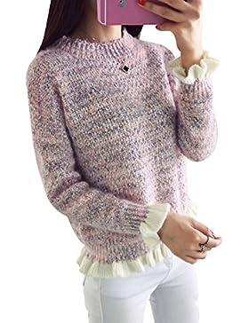Mujer abigarrado Manga Del Loto Suéteres dobladillo irregular pullover Pink