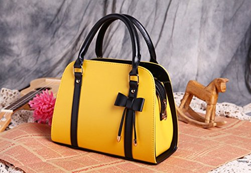 m.g.d donne Vintage NUOVA Lady Borse Hobo Bag borsa con fiocco in pelle borsa a tracolla Messenger Bag light yellow