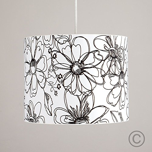 modern-decorative-black-and-white-sketch-floral-pattern-polycotton-rolla-cylinder-ceiling-pendant-dr