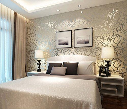 *ufengke Moderne Simple Vliesstoff Beflockung Bronzing 3D Kurve Muster Tapeten Wandbild Für Wohnzimmer Schlafzimmer TV Hintergrund*