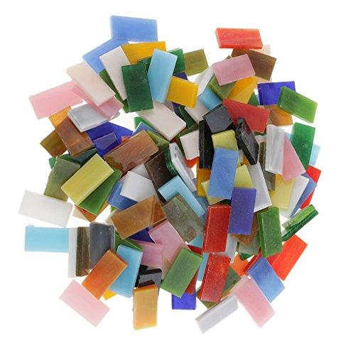 MagiDeal 150 Pcs Boutons Mosaïque En Verre Rectangulaire Multicoloré Scrapbooking Décor DIY Artisanat 10x20mm