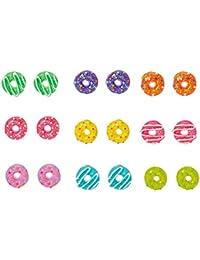 02fe7bd8d Claire's Girl's Glittery Multi-colour Donut & Coffee Stud Earrings Rainbow
