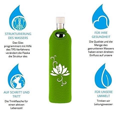 Design Lotus 0,3 Liter - Flaska Trinkflasche Wasserflasche Glasflasche zum regelmäßigen Wassertrinken + 2 Korken