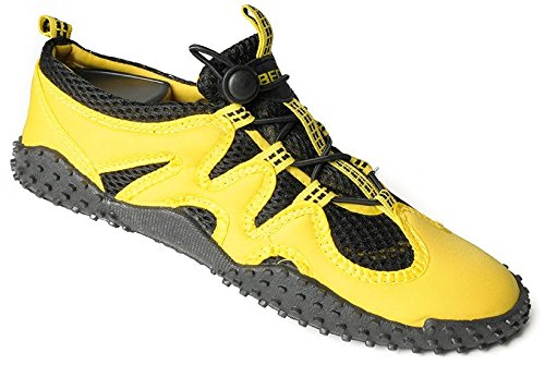 BECO Badeschuhe Aqua Schuhe Surfschuhe Sneaker Beach Schuhe Gr 45 gelb