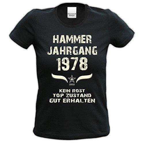 Damen Motiv T-Shirt :-: Geburtstagsgeschenk Geschenkidee für Frauen zum 39. Geburtstag :-: Hammer Jahrgang 1978 :-: Girlie kurzarm Shirt mit Geburtstags-Aufdruck :-: Farbe: schwarz Schwarz