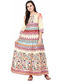 IndiWeaves Silk Printed Party wear Long Dress/Maxi Gown/Western Dress Collection for Women