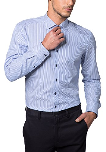 eterna Langarm Hemd Slim Fit Twill Gestreift (Gestreiftes Slim Fit Hemd)