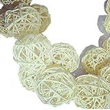 Rattan-Korbbälle, 10Stück, Dekoration für Hochzeiten, Weihnachten, Partys, als Tisch- und Gartendekoration, natur, 5 cm