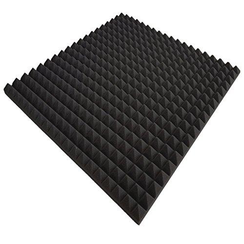 8 x Mousse acoustique Anthracite Env. 50 x 50 x 3 cm, noir, env. 2 m², Pyramide Mousse Mousse alvéolée