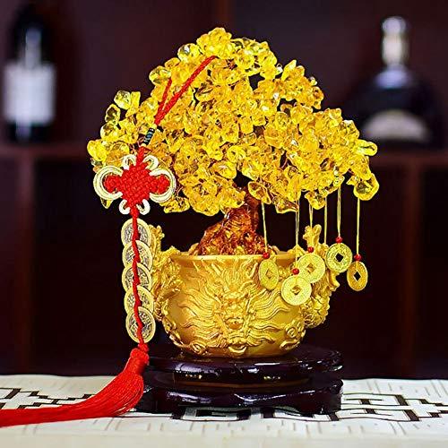 Chinesischer Drache Design Kristall Glück Geld Vermögen Baum Goldenes GLÜCK Vermögen Reichtum Home Office Dekoration Ornament Figuren