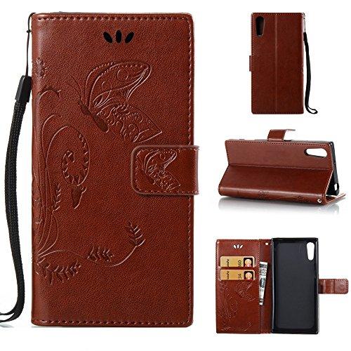 EKINHUI Case Cover Solid Color Faux Leder Bookstyle Brieftasche Stand Case mit geprägten Blumen & Lanyard & Card Slots für Sony Xperia XZ ( Color : Red ) Brown