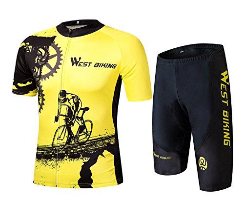 ICOCOPRO Trikot Anzug Kurz Ärmel mit 3D Gepolsterte Hose Full Reißverschluss Quick Dry Radfahren Kleidung für Mountain Bike Road Bike MTB BMX Racing Outdoor, XXX-Large