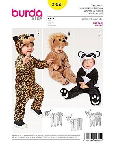 Burda 2355 Schnittmuster Kostüm Fasching Karneval Tieroverall (Baby, Gr. 74 – 98) Level 3 (Magazin Kostüme Online)