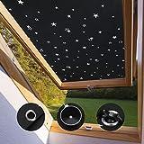 KINLO Store pour Fenêtre de Toit Velux M04 et 304-60 x 73 cm Noir avec étoile Velux Rideau Occultant Complète avec Ventouses sans Perçage Protection Solaire au Revêtement Thermique...