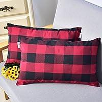 Natus Weaver Red & Black Buffalo Check Plaid Throw Pillow Cover Decorative Cushion Shams Pillowcase for Home Decor,12 x 20, Set of 2
