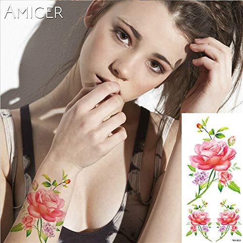 Tzxdbh 7pcs tatuaggio rosa blu adesivo tatuaggio della spalla del braccio fiore femminile tatuaggio impermeabile corpo 7pcs-