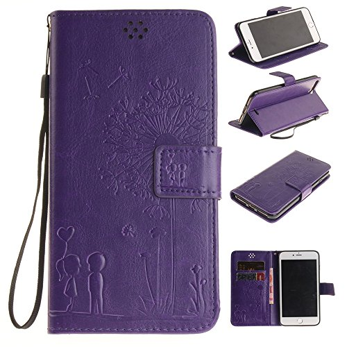 iPhone Case Cover Housse pour iPhone 7 Plus, Housse en cuir PU Premium, Fleurs en relief Housse pour porte-monnaie pour amoureux de pissenlits pour iPhone 7 Plus ( Color : Rose , Size : IPhone 7 Plus  Purple
