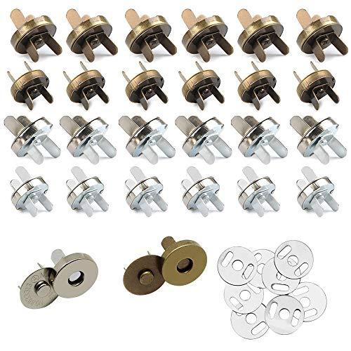 24 Stück Magnetknopf Verschlüsse Druckknopfverschluss DIY Handwerk Nähen Knöpfe Strickknöpfe Sätze für Nähen, Handwerk, Geldbörsen, Taschen, Kleidung, Leder 18mm 14mm Silber Bronze -