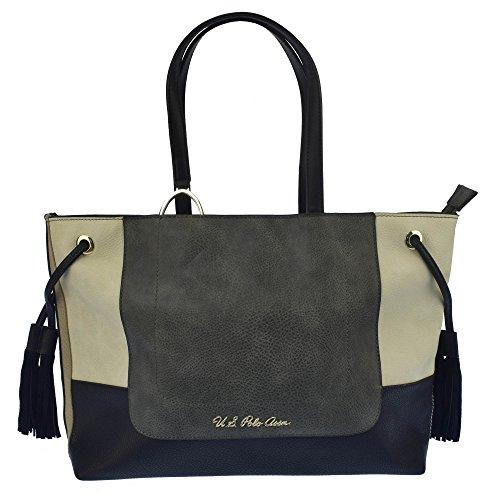 U.S.POLO ASSN. Handtasche mit großen Griffen 34-42x10x27 cm