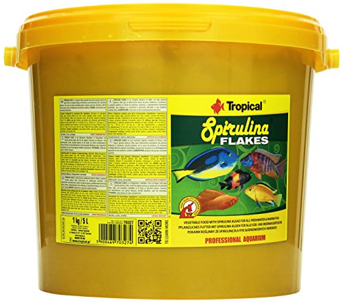 Tropical Spirulina Flakes Pflanzliches Flockenfutter mit Spirulina, 1er Pack (1 x 5 l)