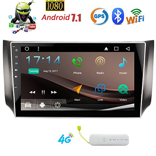 Eincar Android 7.1 Auto-Stereoanlage mit 1024 * 600 HD Touchscreen f¨¹r Nissan Sylphy 2016 2.017-10,1 Zoll Headunit Auto GPS Sat Navi Unterst¨¹tzung Bluetooth Auto Radio RDS FM AM WIFI Telefon Mirroring 1080P Video + 4G Dongle