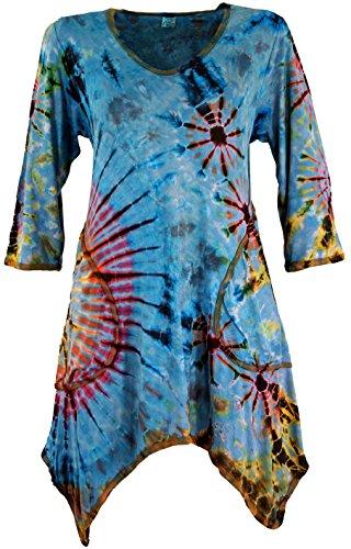 Guru-Shop Batik Minikleid, Boho Pixi Kleid, Damen, Hellblau, Viskose, Size:38, Kurze Kleider Alternative Bekleidung -