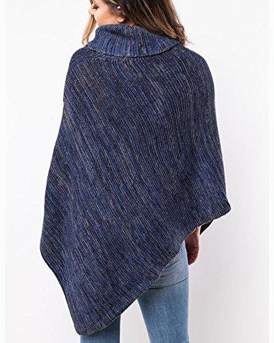 Ponchos Donne Ragazze Mantelle Scialle Caldo Maglia Maglione Poncho Cappotti Cappotto Pullover Sweater Top Blu