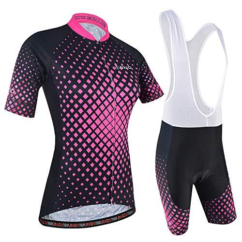 Ciclismo Conjunto de Ropa, Maillot Ciclismo y Culotte Pantalones Cortos con Banda elástica, 3 Bolsillos...