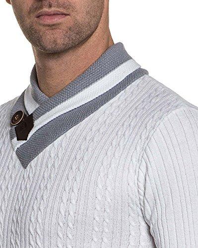 BLZ jeans - Pullover homme blanc côtelé col châle montant Blanc
