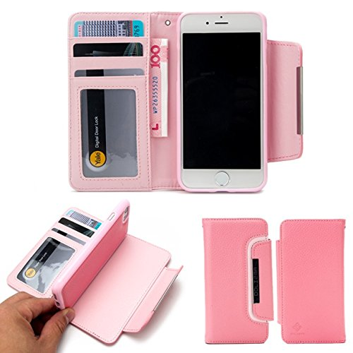 Litchi Beschaffenheit Magnetischer Verschluss-Art PU-lederner Kasten mit abnehmbarer rückseitiger Abdeckung u. Karte Bargeld-Schlitze für iPhone 7 ( Color : Black ) Pink