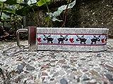 Schlüsselanhänger Schlüsselband Wollfilz hellgrau Elche rot blau grau!